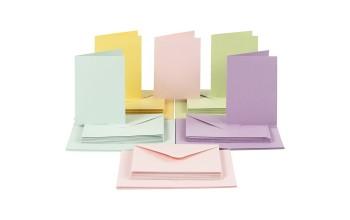 Atvirukų ruošinių ir vokų rinkinys, įvairių spalvų