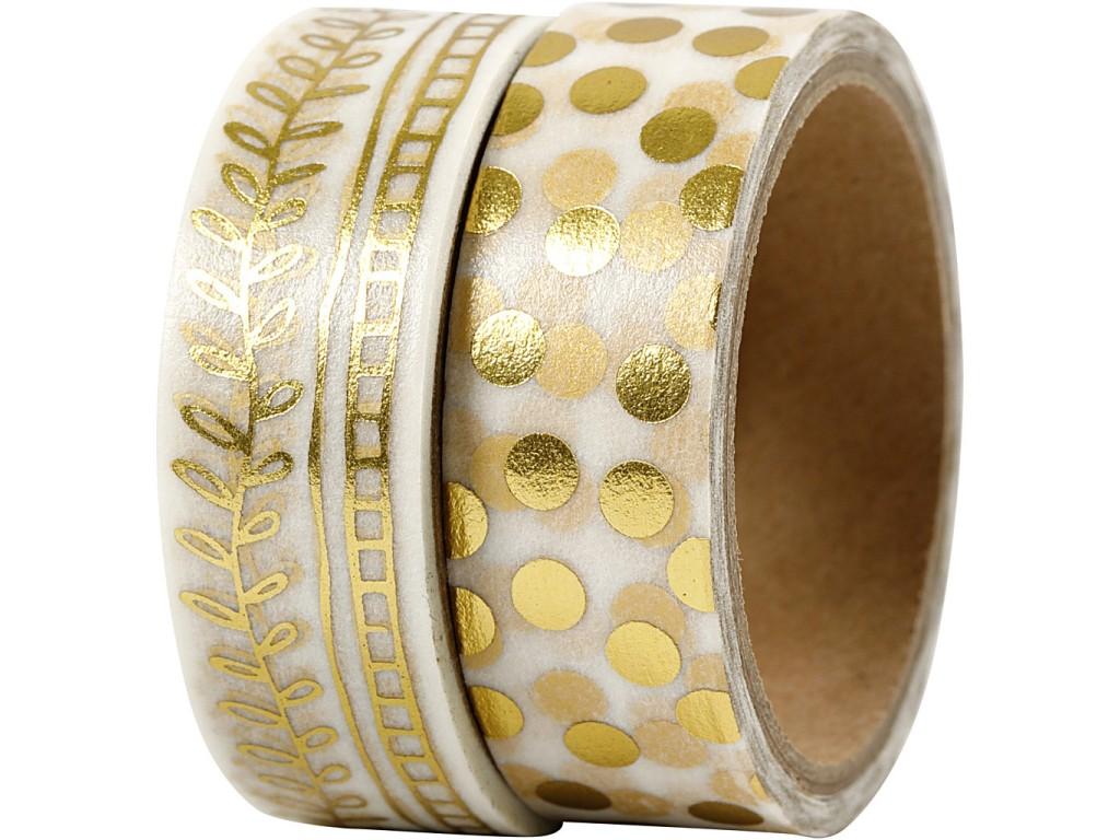 "Lipni popierinė juostelė ""Washi Tape Gold Rake And Dots"" 2vnt."