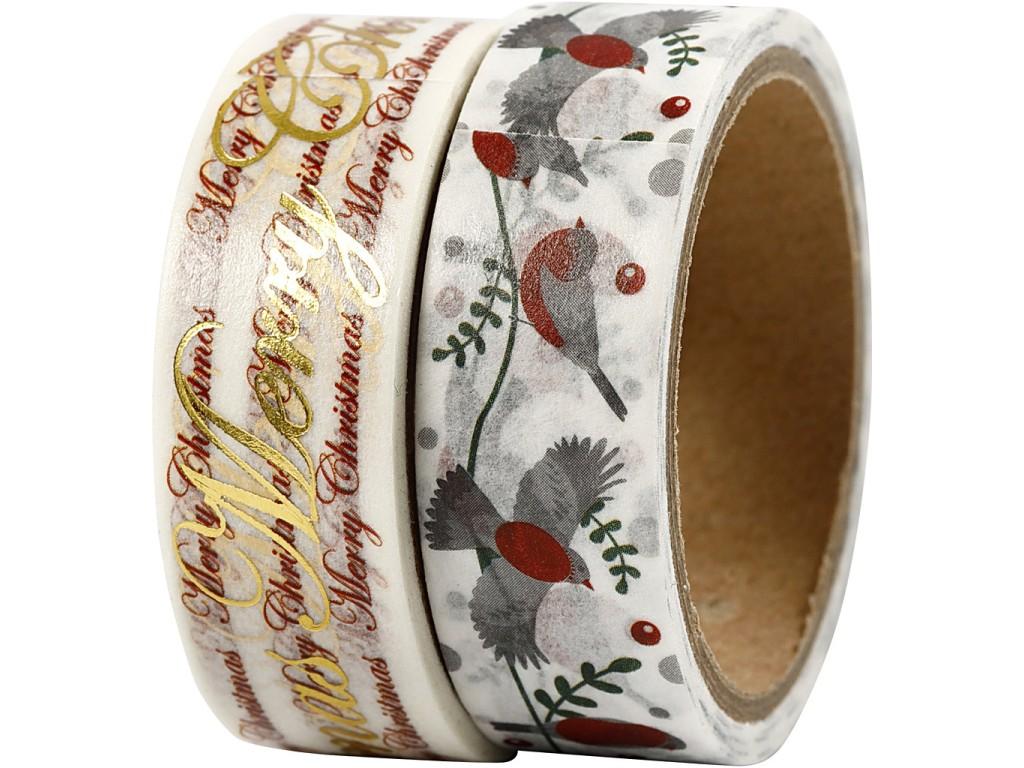 "Lipni popierinė juostelė ""Washi Tape Glædelig Jul And Birds"" 2vnt."