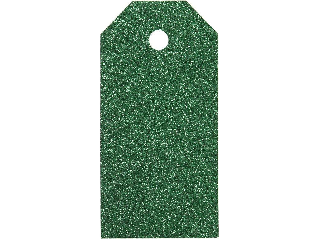 "Popierinės etiketės ""Glitter Green"", 4vnt."