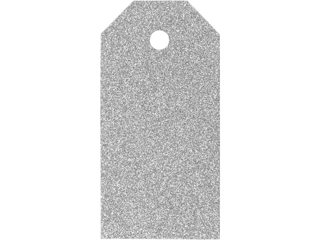 """Popierinės etiketės """"Glitter Silver"""", 4vnt."""