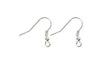 Kabliukų pora auskarams su bumbuliuku, sidabro spalva