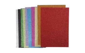 "Minkštas crepla popierius ""EVA foam Glitter  2mm"", 10 vnt. (rinkinys)"