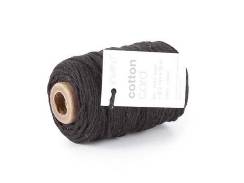 "Makrame virvė ""Vivant Cord Cotton fine black - 50 m, 2mm"""