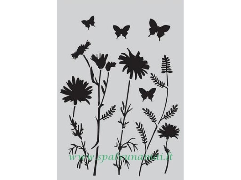 """Plastikinis trafaretas """"Field Flowers"""""""