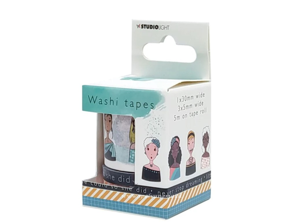 "Lipni popierinė juostelė ""Studio Light Washi Tape Karin Joan Missees Collection nr.04"", 4vnt."