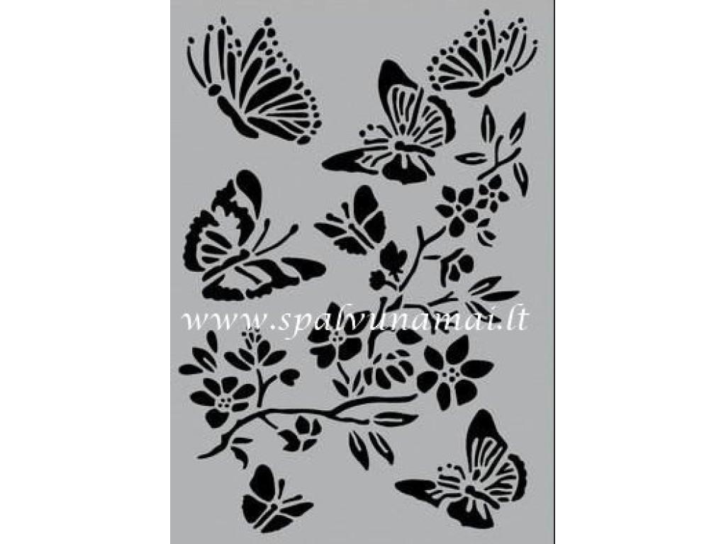"Plastikinis trafaretas A5 ""Butterfly with blossom"""