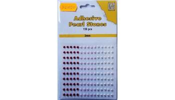 """Pusiniai perliukai priklijuojami """"Nellie's Choice Adhesive pearls 3mm Red - Pink"""", 150vnt."""