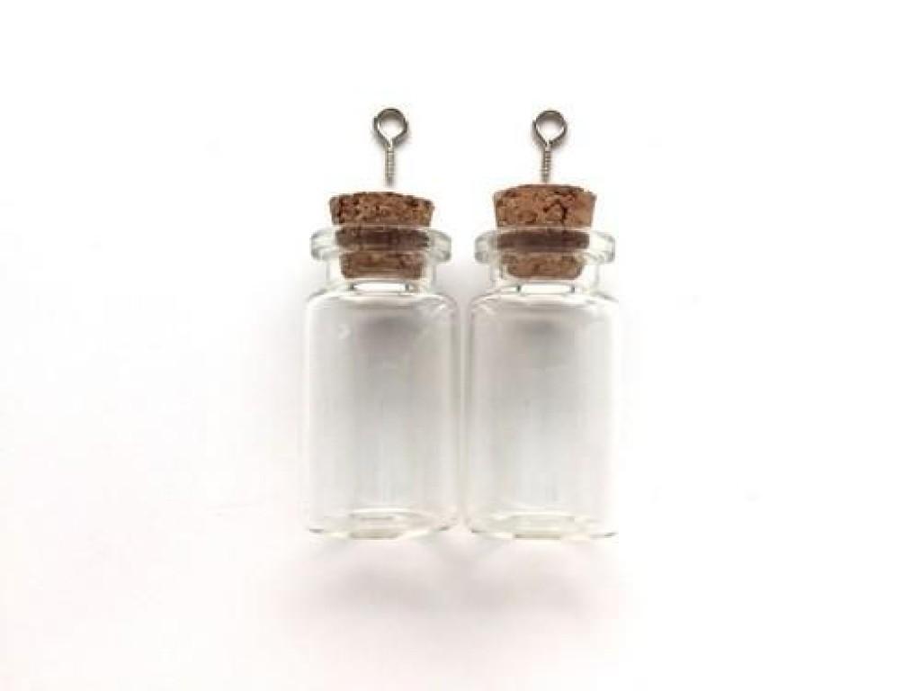 Stiklinis buteliukas su kamšteliu ir kilpele pakabinimui 22x40mm, 1vnt.