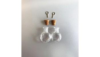 Stiklinis buteliukas su kamšteliu ir kilpele pakabinimui 19.2x10x24mm, 1vnt.