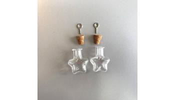 Stiklinis buteliukas su kamšteliu ir kilpele pakabinimui 21x11x23.3mm, 1vnt.