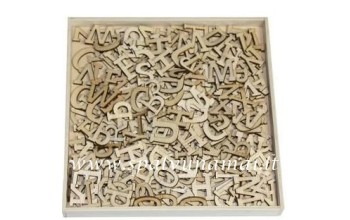 "Medinių formelių rinkinys ""Wood Alphabet basic large"", 250vnt."