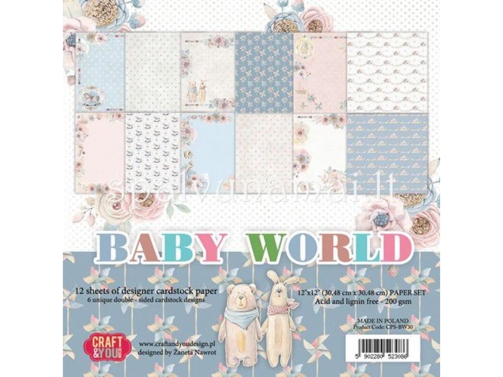 """Popieriaus rinkinys """"Baby World"""", 30,5x30,5cm, 12 lapų"""