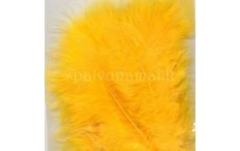 """Dažytos plunksnos """"Feathers Marabou yellow"""", 15vnt."""