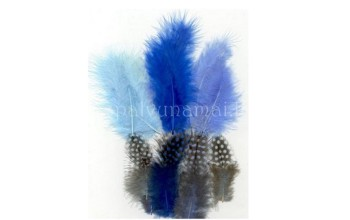 "Dažytos plunksnos ""Feathers Marabou and Guinea mix blue"", 18vnt."
