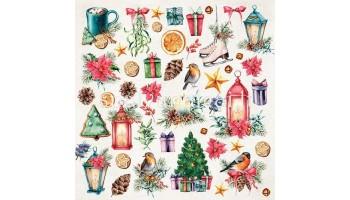 """Raštuotas popierius """"Christmas Vibes elements to cut"""""""