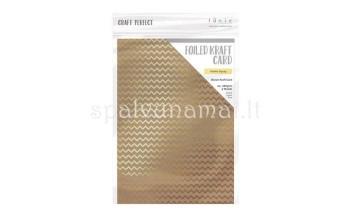 "A4 kartonas su folijos raštu ""Golden Zigzag"", 1 lapas"