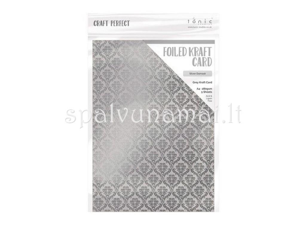 """A4 kartonas su folijos raštu """"Silver Damask"""", 1 lapas"""