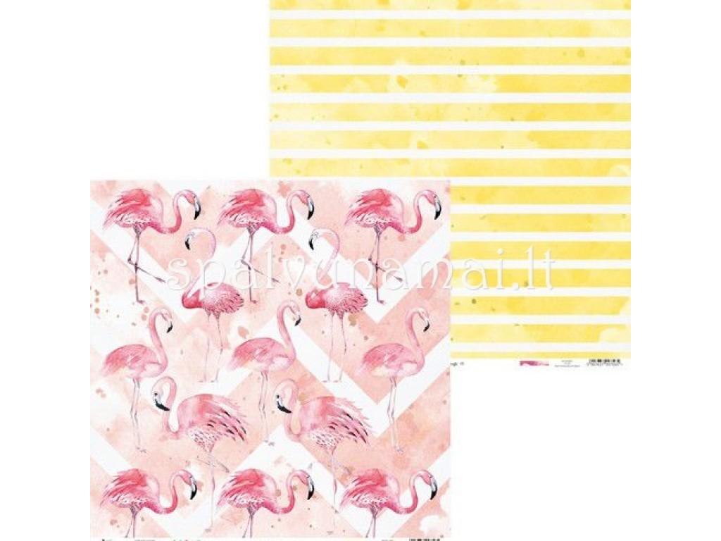 """Raštuotas popierius """"Let's flamingle 01"""""""