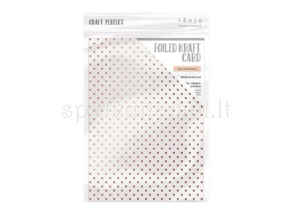 """A4 kartonas su folijos raštu """"Rose Gold Hearts"""", 1 lapas"""