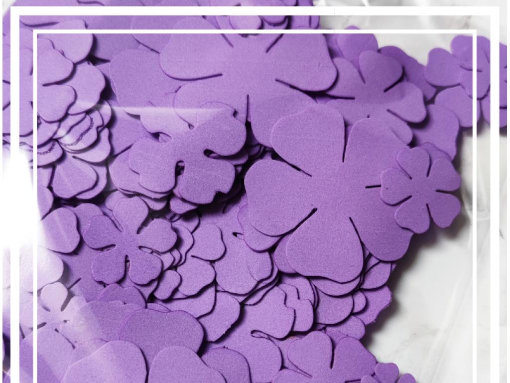 EVA gumos gėlių žiedlapių ruošiniai, purple (pakelyje 30 vnt)