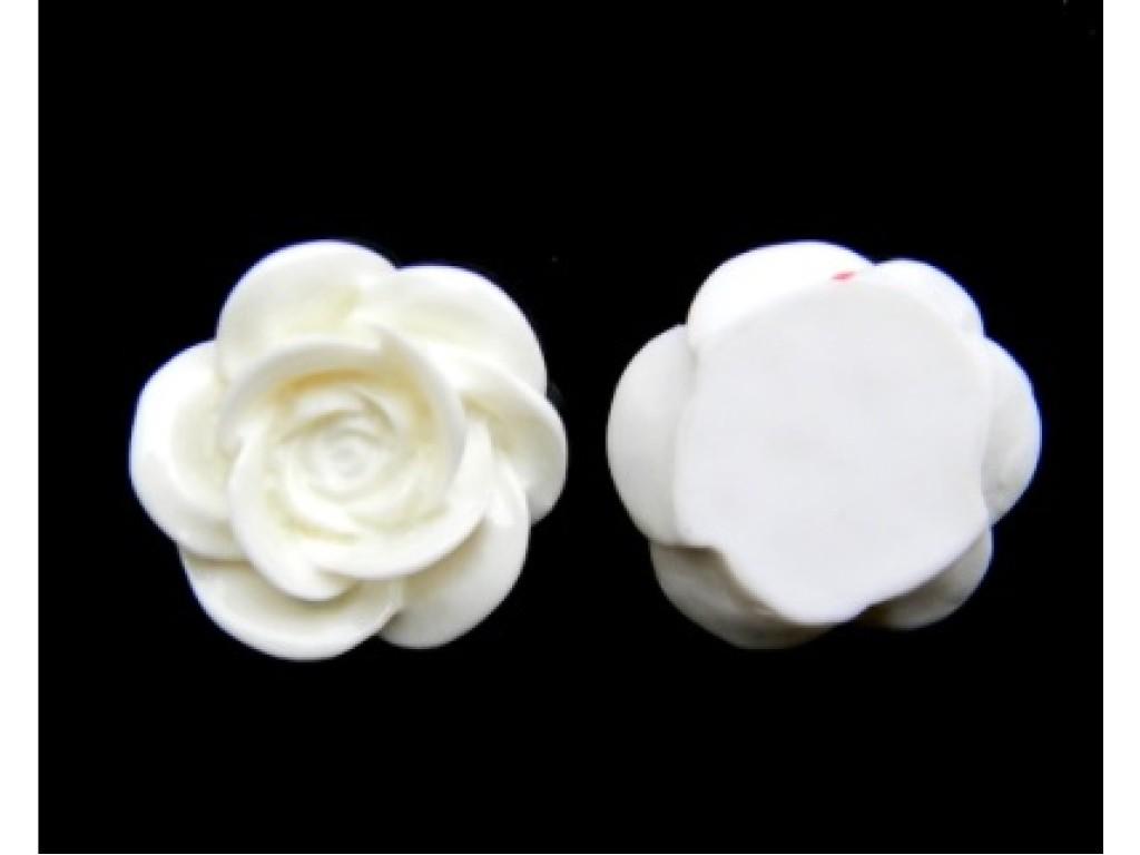 """Akrilinis kabošonas """"Balta gėlytė 18x8mm"""", 1vnt."""