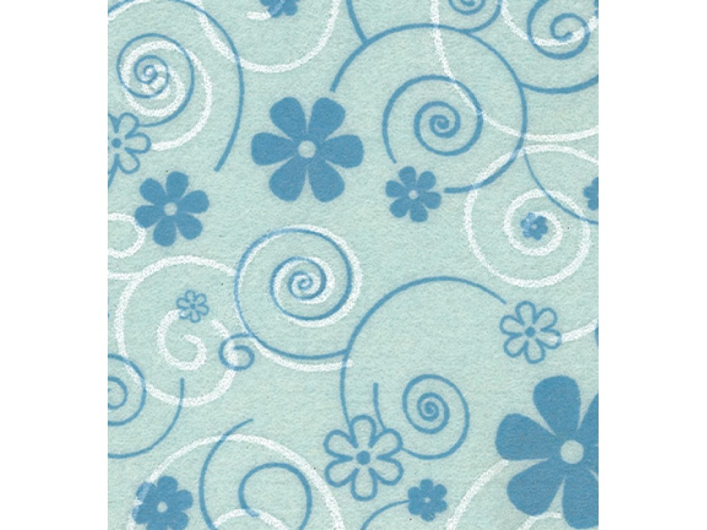 "Dirbtinis veltinis (filcas) ""Curly flowers"" Blue/Blue+white, 30x40 cm"
