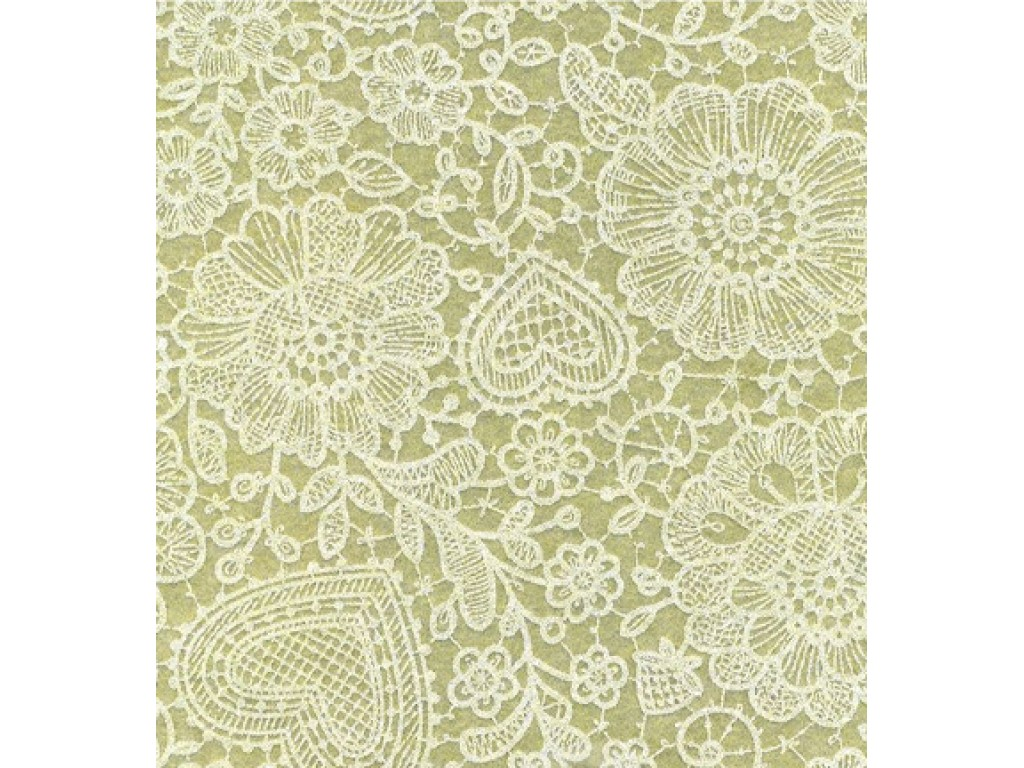 """Dirbtinis veltinis (filcas) """"Lace"""" Sage Green/White, 30x40 cm"""