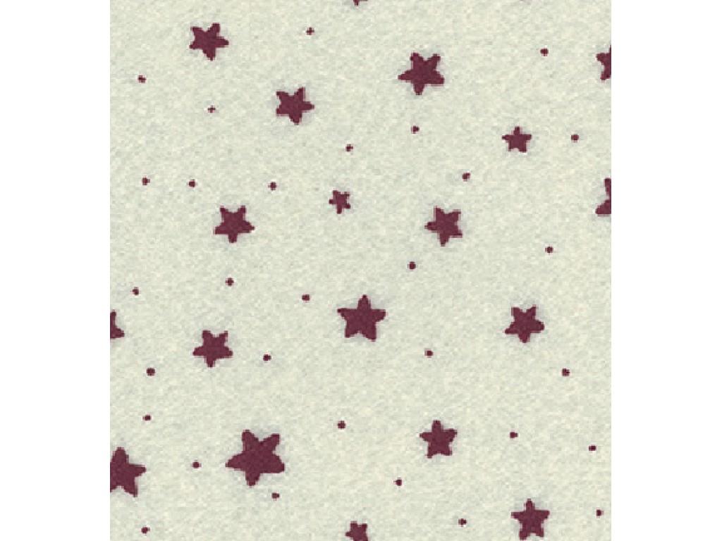 """Dirbtinis veltinis (filcas) """"Stars"""" Offwhite/Red, 30x40 cm"""