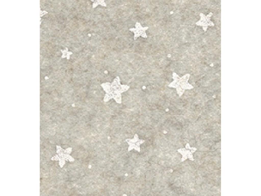 "Dirbtinis veltinis (filcas) ""Stars"" Offwhite melange/White, 30x40 cm"