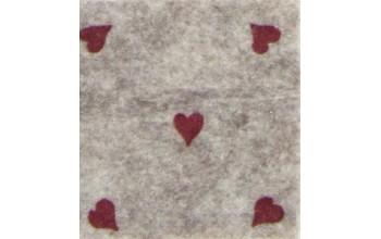 """Dirbtinis veltinis (filcas) """"Hearts"""" Beige melange/Red, 30x40 cm"""