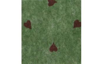 "Dirbtinis veltinis (filcas) ""Hearts"" Olive Green melange/Red, 30x40 cm"