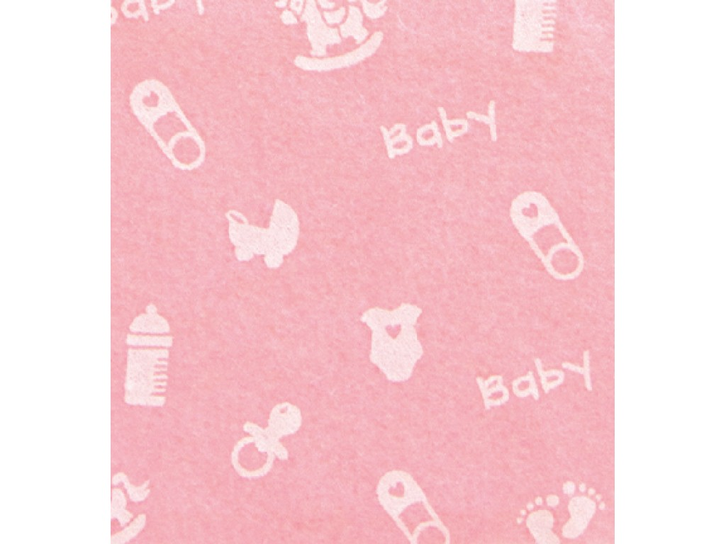 "Dirbtinis veltinis (filcas) ""Baby Small"" Baby Pink/White, 30x40 cm"