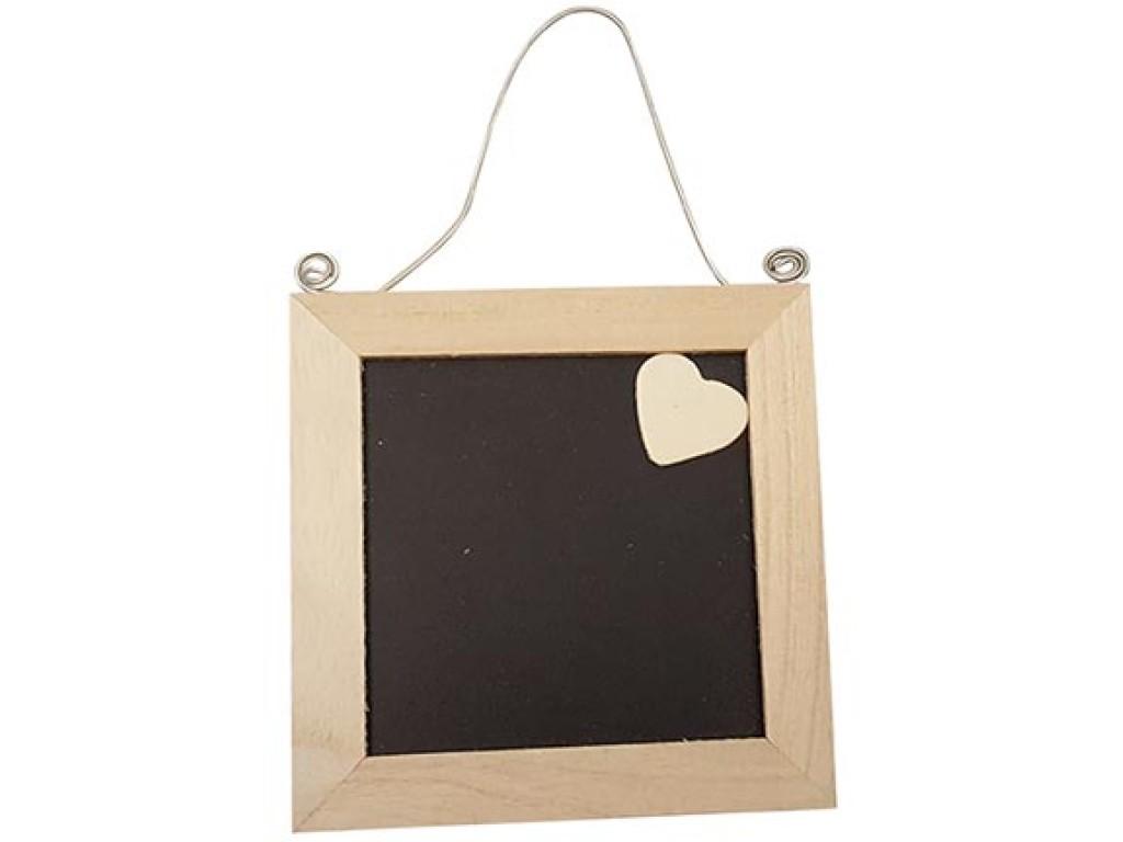 """Medinė lentelė užrašui su širdele """"Blackboard 11,5x11,5x1cm"""", 1vnt."""