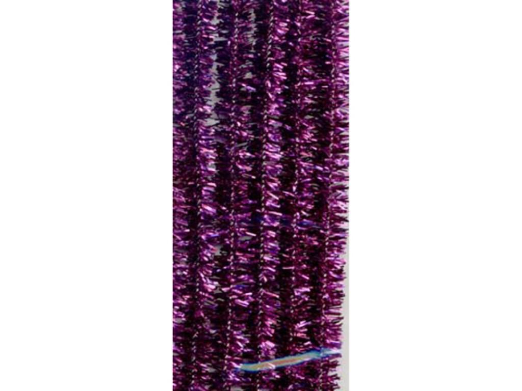 Lanksčios pūkuotos lazdelės, blizgios violetinės spalvos, 6 vnt.