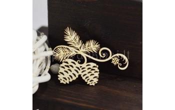 """Kartoninė formelė """"Kankorėžiai su ornamentu"""""""