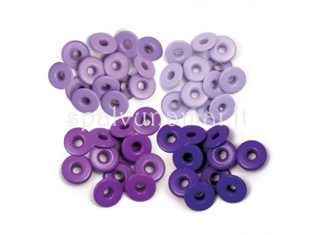 "Kniedės ""We R Memory Keeper wide eyelets purple"", 40vnt."