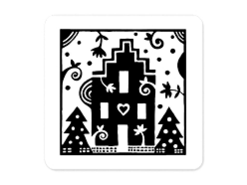 """Akriliniai antspaudukai """"Christmas House In Window"""""""