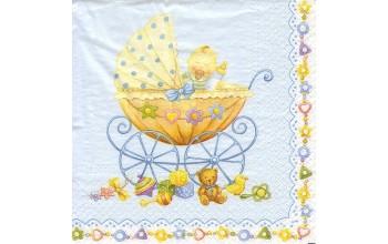 "Servetėlė Nr.051 ""Baby Carriage Blue"" 33x33cm"