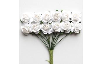 """Popierinės gėlės """"Baltos apvalios rožytės"""""""