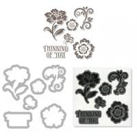 """Antspaudukų ir kirtimo formelių rinkinys """"floral"""""""