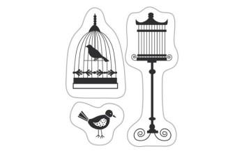 """Akriliniai antspaudukai """"Birds with cage"""""""