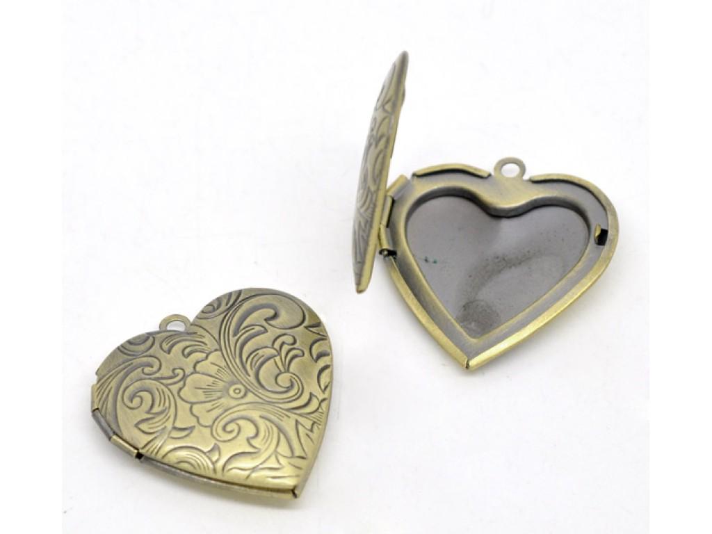 """Metalinis pakabukas """"Žalvario Medalionas Širdis"""", 1vnt."""