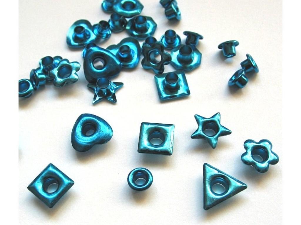 "Kniedės ""Fun-shapes metallic light blue"""