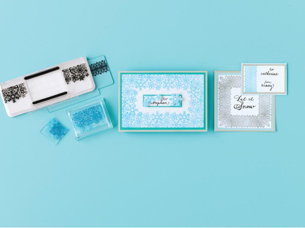 """Akrilinių antspaudukų rinkinys """"Stamp Around the page Snowflakes and caligraphy"""""""