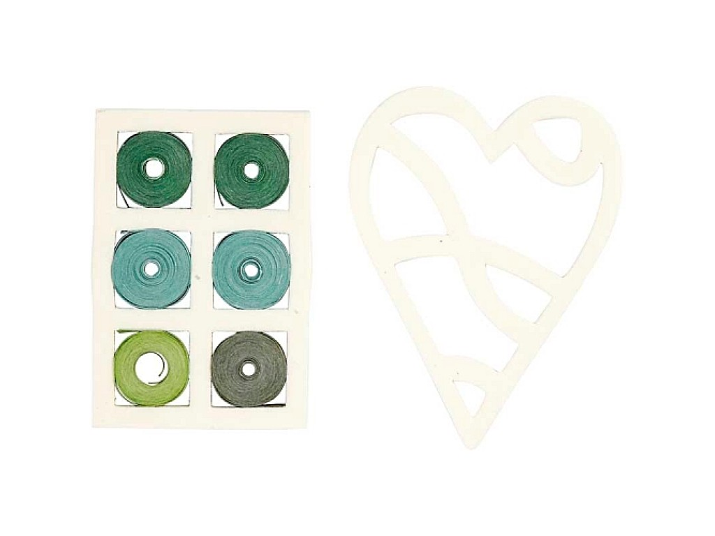 "Kvilingo juostelių rinkinys ""Blue/Green Harmony Heart"""