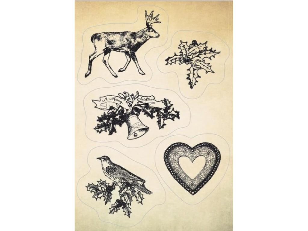 "Akriliniai antspaudukai ""Christmas moose and holly leaf"""