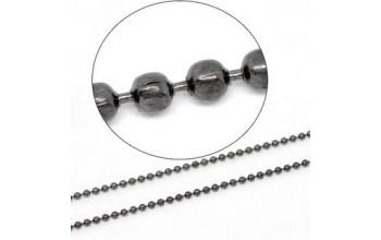 Burbuliukų grandinėlė 1,5mm juodinto metalo spalva,  1m