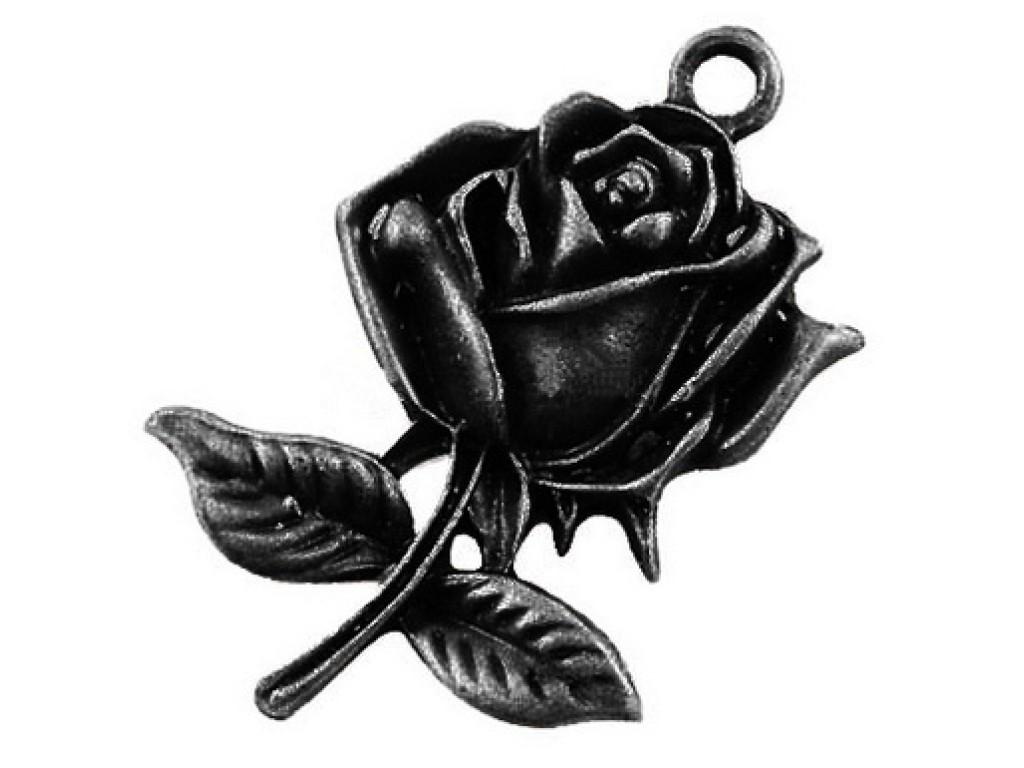 """Metalinis pakabukas """"Juodinto metalo rožė"""", 1vnt."""