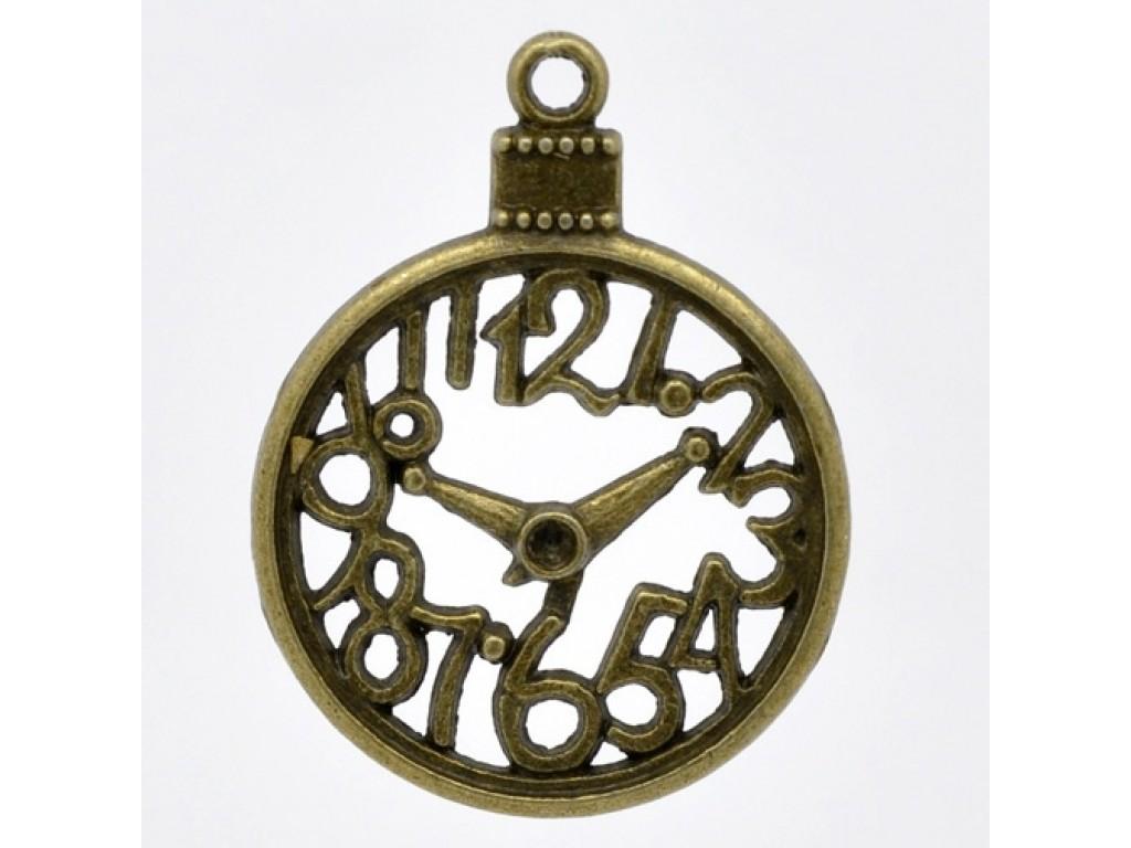 """Metalinis pakabukas """"Žalvario Laikrodis su skaičiais"""", 1vnt."""